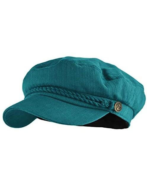 Deewang Mens Women Mariner Skipper Cap Cotton Greek Fisherman Hat Newsboy Sailor Fiddler Cap