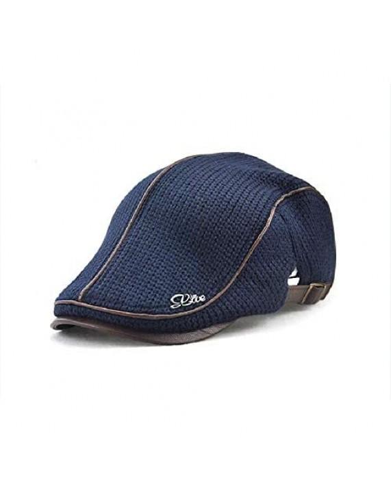 Elwow Men's PU Leather Front Cotton Kint Flat Cap Irish Cabbie Newsboy Hat
