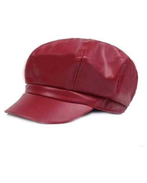FaLasoso Women Beret PU Leather Casual Newsboy Cap Vintage Octagonal Flat Cap Gatsby Driving Ivy Hat (Black)