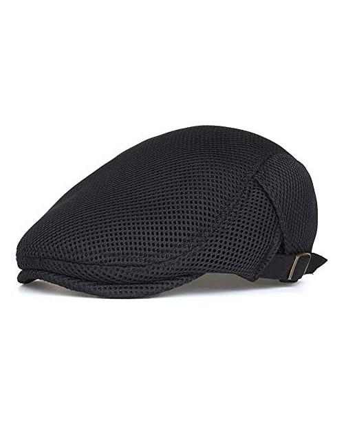 Glamorstar Men's Mesh Summer Hat Flat Ivy Cap Gatsby Newsboy Hat Hunting Cap