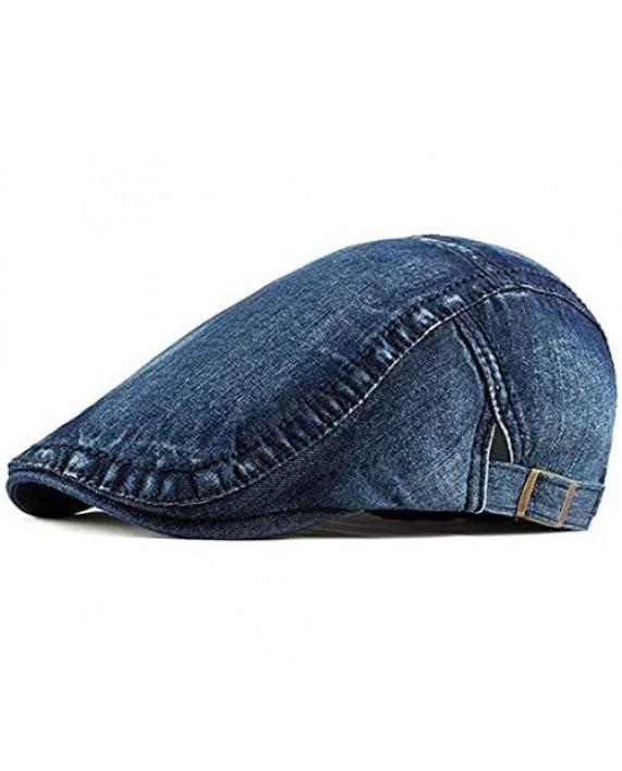 Idopy Men`s 2 Pack Denim Newsboy Caps Washed Jean Gatsby Ivy Irish Hats