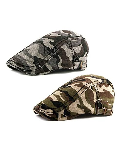 Idopy Men's Army Military Driving Ivy Hat Camouflage Newsboy Flat Cap Cabbie