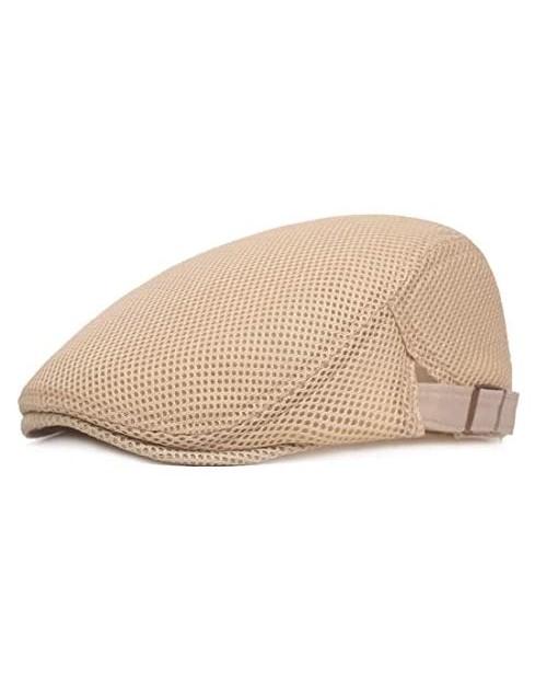 King Star Men Breathable Mesh Summer Hat Newsboy Beret Ivy Cap Cabbie Flat Cap