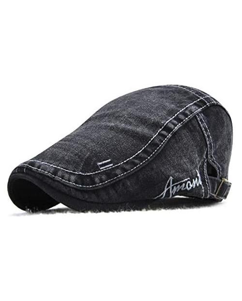 Men Denim Flat Cap Hat Ivy Gatsby Caps Cotton Beret Adjustable Size Buckle