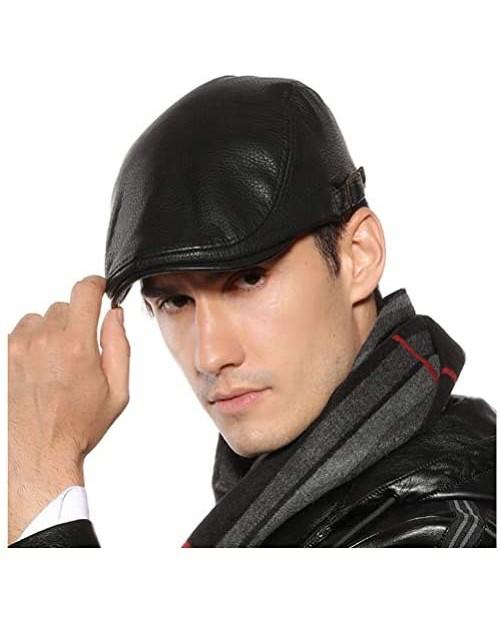 Men Women Vintage Leather Beret Flat Cap Gatsby Newsboy Driving Ivy Hat