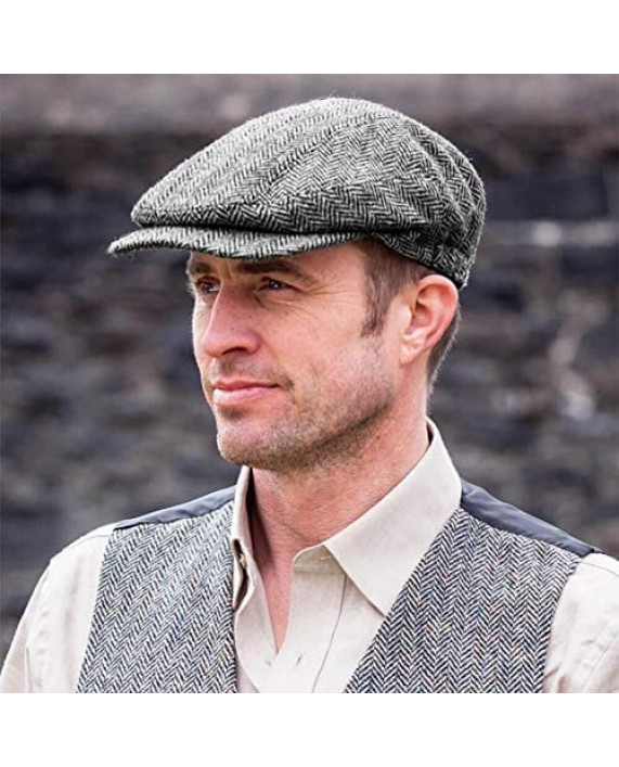 Men's Authentic Irish Wool Flat Cap - Traditional Herringbone Style Made in Ireland Gray