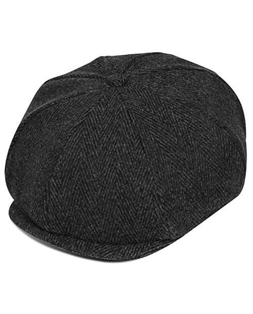 Men's Newsboy Gatsby Hat Blend Wool Herringbone Tweed Classic 8 Panel Cabbie Ivy Flat Cap Gift