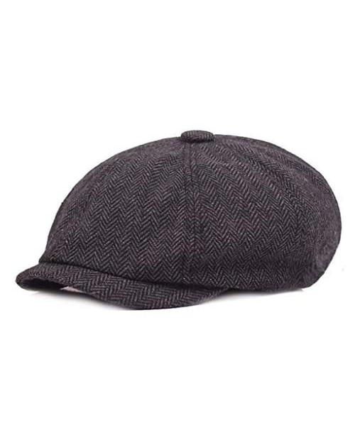 Mens Vintage Style Cloth Cap Hat Twill Cabbie/Hunting Hat Newsboy Beret Cap