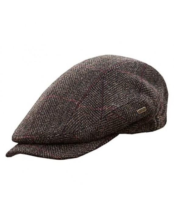 Mucros Weavers Men's Quiet Man Cap -Irish Tweed Flat Cap - Brown