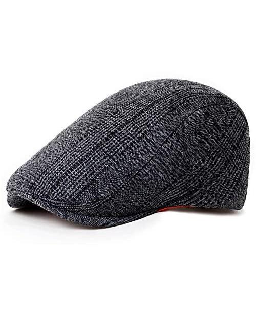 PORSYOND Men's Classic Plaid Flat Hat Newsboy Hat Beret Cabbie Ivy Driving Cap