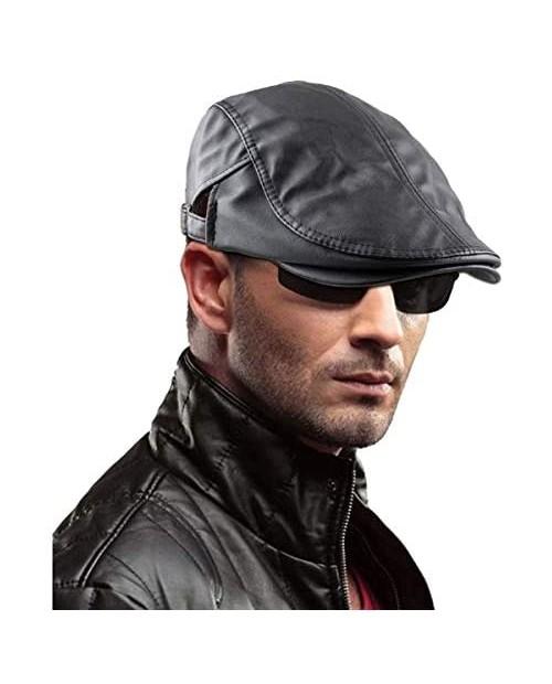Samtree Men's Classic Newsboy Cap PU Leather Gatsby Ivy Flat Golf Driving Hat