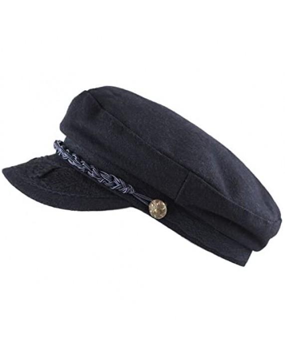 The Hat Depot Winter Unisex Wool & Faux Leather Greek Fisherman Sailor Fiddler Driver Hat Flat Cap