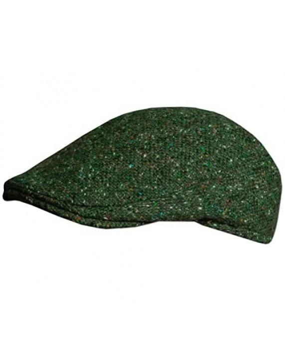 Traditional Irish Tweed Flat Cap Made in Donegal Ireland Green.