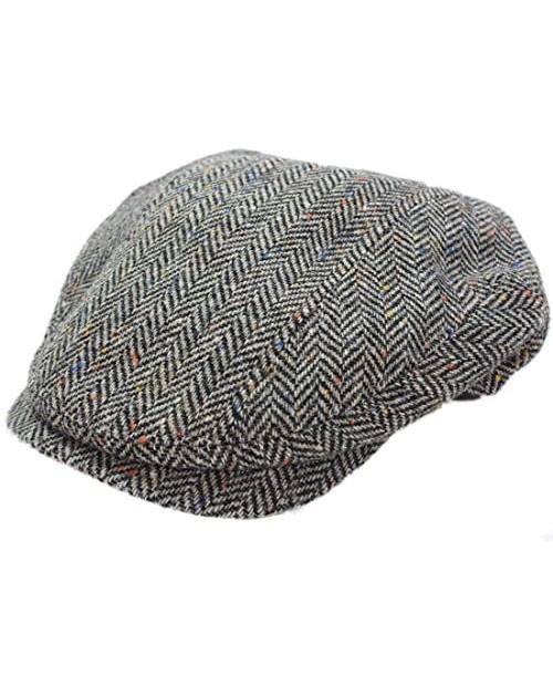 Tweed Cap Grey Herringbone Quilted Lining Irish Made