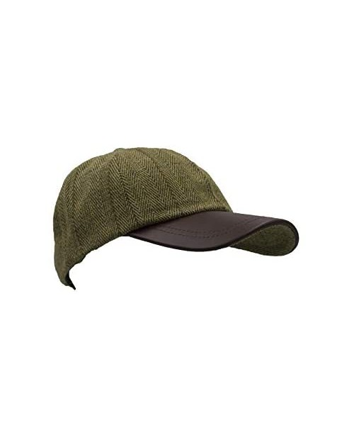 Walker and Hawkes Men's Derby Tweed Baseball Cap Hunting Shooting Hat Leather Peak One Size Light Sage
