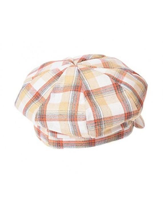 WITHMOONS Newsboy Hat Cotton Beret Cap Bakerboy Visor Peaked Summer Tartan Check Hat SLG1011