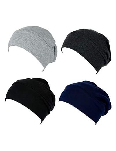 4 Pieces Satin Lined Sleep Cap Slouchy Beanie Slap Hat for Women Men caps Modal Closure adjustablele Headwear Cap