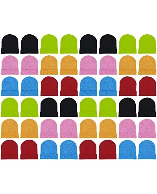 48 Pack Winter Beanies Bulk Cold Weather Warm Knit Skull Caps Mens Womens Unisex Hats