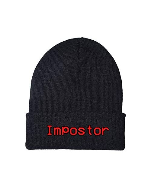 Among US Games Impostor Fashion Trend Classic Winter Warm Knit Hat Beanie Cap for Children Adolescents and Youths Black