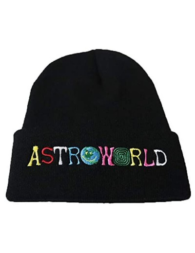 Fwjsky Astroworld Unisex Embroidered Stretchy Knit Beanie Hat Winter Warm Skullies Cap Hats