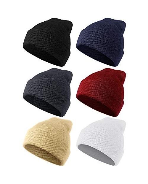 Geyoga 6 Pieces Warm Knitted Cuffed Beanie Hats Winter Cuff Skull Cap Men Women