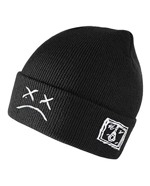 Lil Peep Beanie Hat Embroidery Knitted Beanie Hat Skull Beanie Warm Winter Unisex Cuffed Beanie Cap