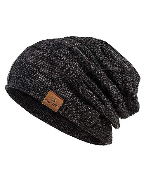 PAGE ONE Mens Winter Slouchy Beanie Warm Fleece Lined Skull Cap Baggy Cable Knit Hat