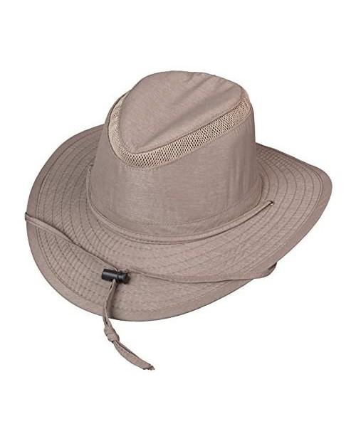 Broner Mens Streamside Poly/Nylon Blend Big Brim Sun Hat with Chincord