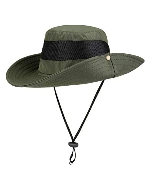 FALETO Outdoor Sun Hat Wide Brim Fishing Hat Windproof Sun Protection Boonie Hat