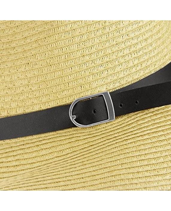 Men's Floppy Packable Straw Hat Beach Cap Newsboy Fedora Sun Hat Big Brim Adjustable Chin Strap