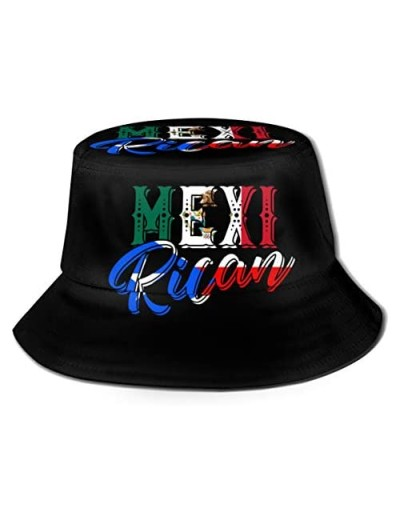 Mexirican Puerto Rican Rico Mexican Mexico Flag Fishing Travel Bucket Hat Fisherman Summer Camp Sun Cap Clothing Dresses Adult Women Men Girls Golf Beach Party Gift