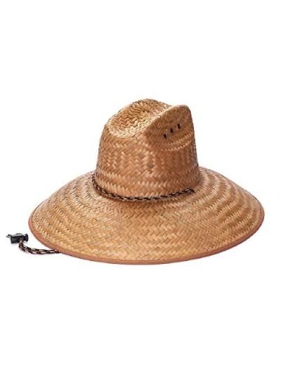 Natural Palm Leaf Straw Super Wide Brim Lifeguard Hat with Chin Strap Flex Fit Tan