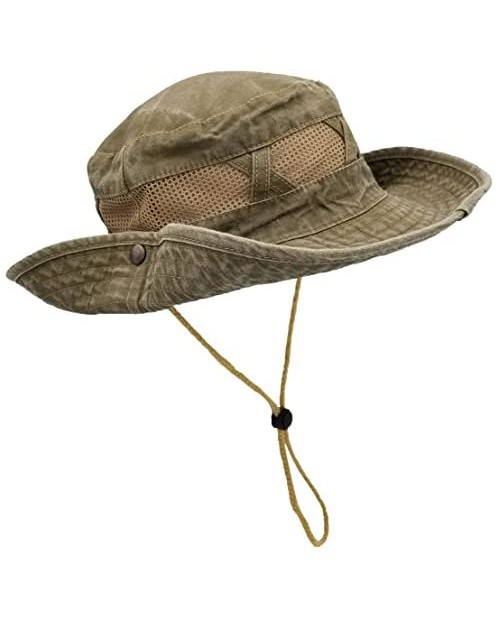 Outdoor Summer Boonie Hat for Hiking Camping Fishing Operator Floppy Military Camo Sun Cap for Men or Women