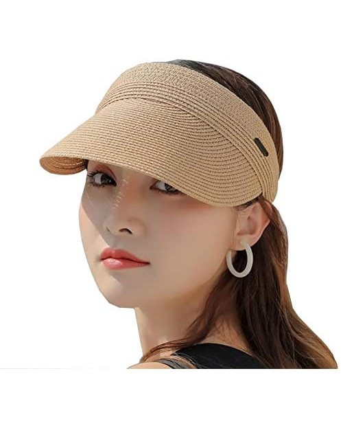 Sun Visors for Women Summer Beach Hats UPF 50+ Wide Brim Roll-up Foldable Straw Hat Fashion Ladies Packable Sun Hats