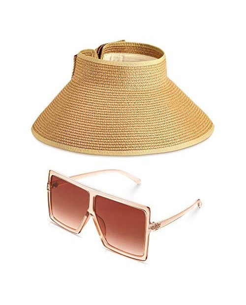 Women's Foldable Straw Sun Visor Wide Brim Roll up Summer Beach Hat with Oversized Square Sunglasses