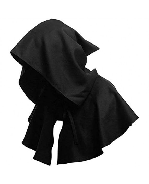 YunFeel Halloween Grim Cowl Cloak Cosplay Costumes Medieval Wicca Pagan Hood Hat Hooded Poncho for Men Women