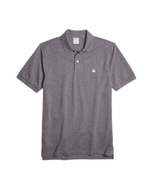 Brooks Brothers Original Fit 8017 Mesh Cotton Performance Polo Shirt Charcoal Grey Heathered