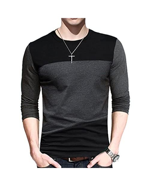 Yong Horse Men's Casual Stitching Tops Shirts Slim Fit Crew Neck Short and Long Sleeve Athletic Basic Cotton T-Shirt