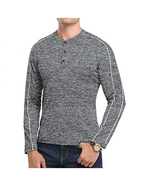 CHAKTON Mens Casual Slim Fit Basic Henley Long Sleeve Fashion Cotton T-Shirt for Work Black