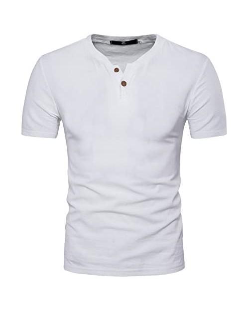 DELCARINO Men's Cotton Linen Henley Shirt Short Sleeve Summer Beach Casual T-Shirts