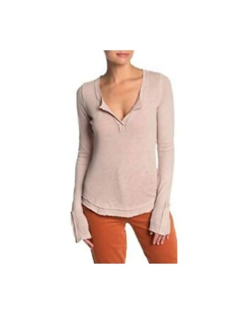 Free People Hazy Day Henley Top Stone M