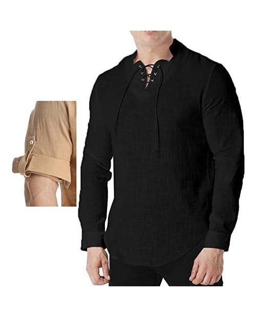 GAESHOW Mens Henleys Shirts Lightweight Cotton Long/Short Sleeve Exchange Beach Yoga Tunic Loose Fit Tops