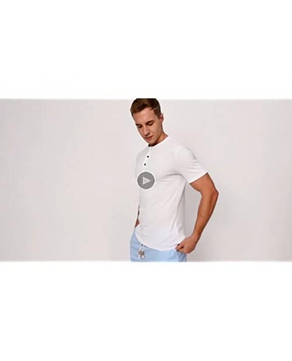 Janmid Mens Henleys Short Sleeve T-Shirts Buttons Placket Casual Cotton Shirts