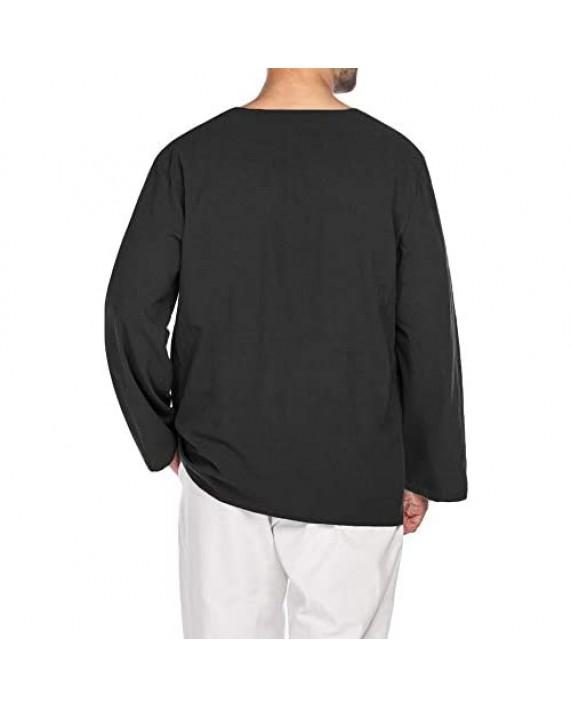 JINIDU Mens Casual T Shirt Cotton Linen Hipster Tee Long Sleeve Henley Beach Top