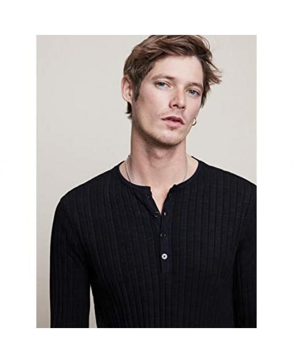 John Varvatos Men's Regualr Fit Long Sleeve Pleated Texture Henley Shirt
