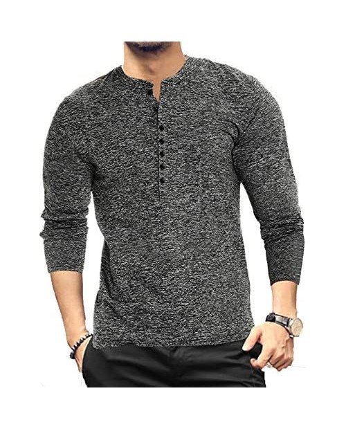 LecGee Men's Basic Henley Long Sleeve Casual Slim-fit Workout Tee Athletic Build Top