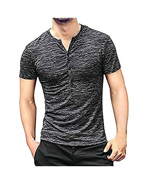 Mens Casual Slim Fit Basic Henley Long Sleeve Fashion T-Shirt Tee