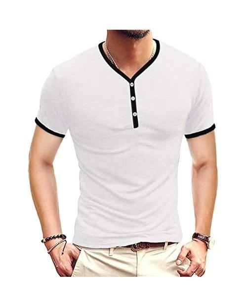 Miqieer Mens Casual Premium Slim Fit Henley T-Shirts Short Sleeve Lightweight