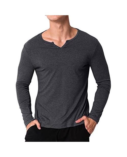 MODCHOK Men's Casual Henley T-Shirts Long Sleeve Slim Fit V Neck Basic Undershirt Tee Tops