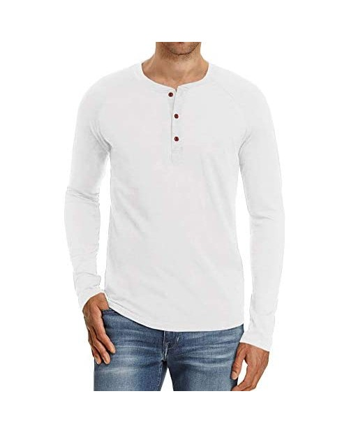 PASLTER Mens Long/Short Sleeve Henley T Shirts Casual Cotton Front Placket Slim Fit Tops Shirt